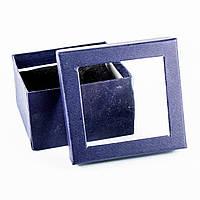 Подарочная коробка для часов или браслета с окошком синяя 9 x 9 x 6 см