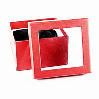 Подарочная коробка для часов или браслета с окошком красная 9 x 9 x 6 см