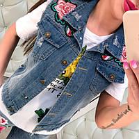 Молодежная, женская, джинсовая жилетка с цветочным принтом