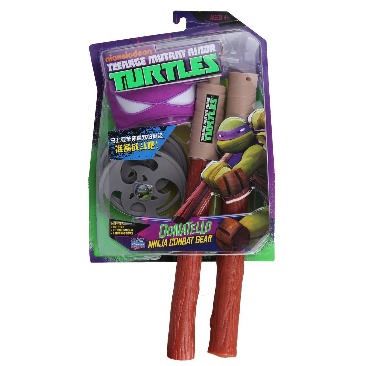 """Боевой набор Донателло """"Черепашки Ниндзя """" (фиолетовая маска, шест Бо, сюрикен) - Donatello, Playmates Toys"""