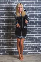 Красивый женский велюровый  халат на молнии  с капюшоном леопардовый  р-42-54