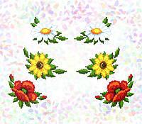 """Водорозчинний флізелін Confetti """"Ромашки, соняшники, маки"""""""