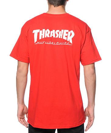 Футболка с принтом Thrasher Huf worlwide мужская