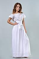Воздушное платье в пол с коротким рукавом-фонариком