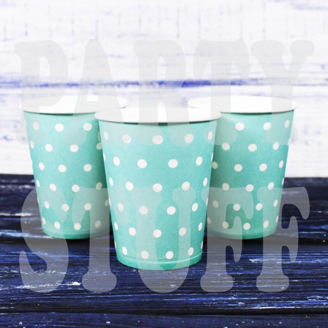 стаканчики одноразовые голубые в горошек
