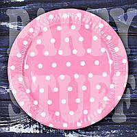Тарелка Розовая в горошек 18 см, 10 шт