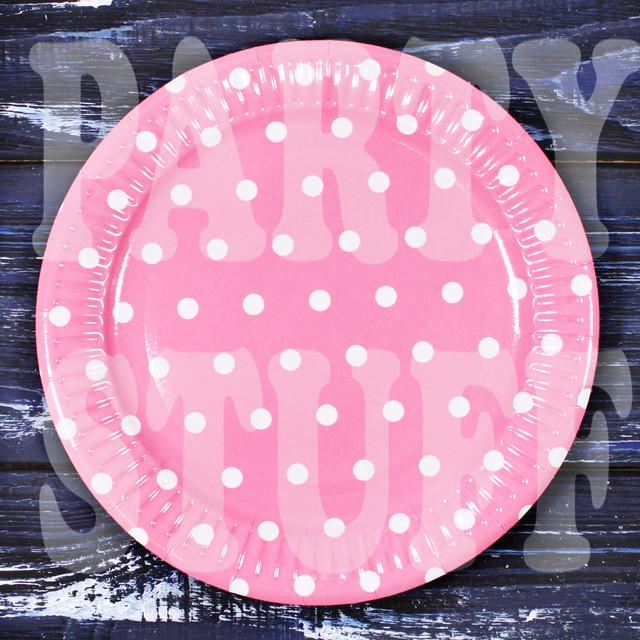одноразовая тарелка розовая в горошек