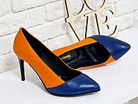 Туфли оранжевые  из натуральной кожи  на шпильке