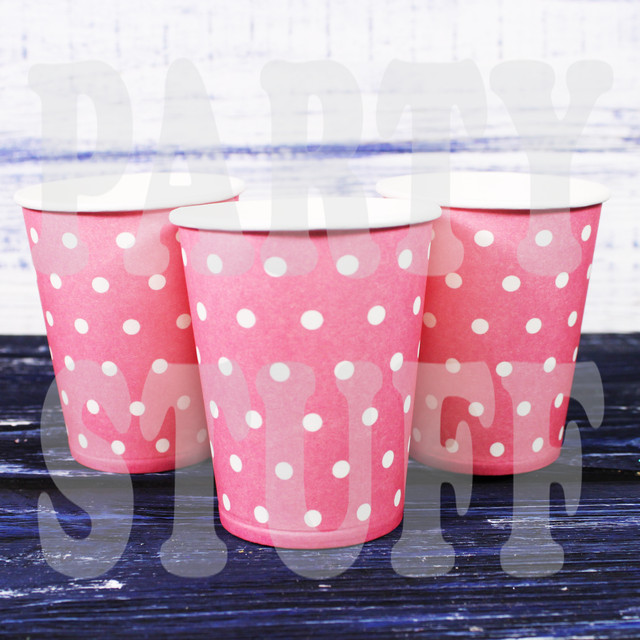 стаканчики одноразовые розовые в горошек