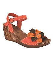 Женские кожаные стильные оранжевые босоножки на танкетке, ортопедическая стелька Inblu