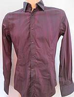 Рубашка в фиолетово-чёрный принт с эффектом помятости. Италия