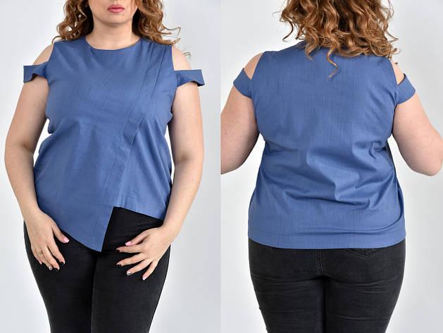 Льняная блуза больших размеров 0512 джинс, фото 2