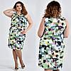 Шелковое платье больших размеров 0513 зеленое