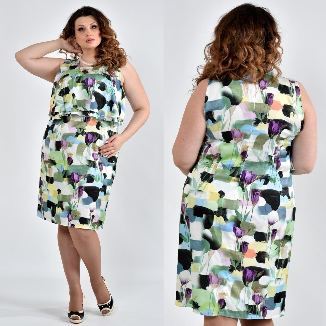 749c108f3144c9 Шелковое платье больших размеров 0513 зеленое - V Mode, прямой поставщик  женской одежды в Харькове