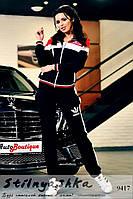 Трикотажный костюм Адидас черный с красным