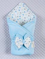 """Велюровый конверт-одеяло """"Короны"""", голубой, Д/С"""