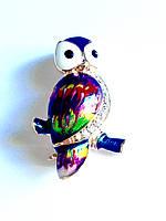 Брошь бижутерия сова цветная эмаль