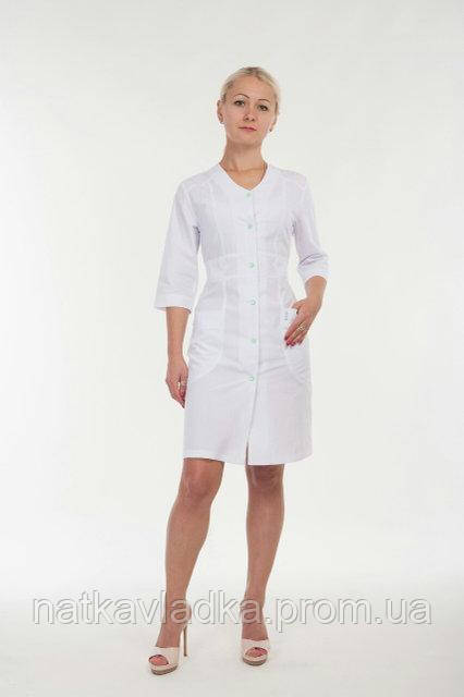 Жіночий медичний халат білий р. 42-60, фото 1