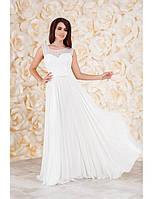 Свадебное шифоновое платье с гипюровым лифом G2043 (р.42-48)