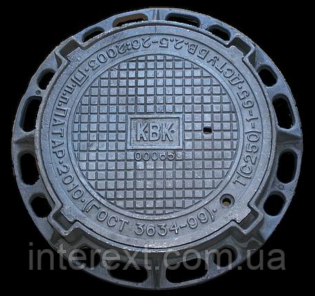 Люк канализационный чугунный тяжелый с запорным устройством класс С250, фото 2