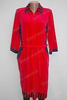 Стильный  женский халат  на замке велюр красный