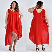 Шифоновое платье больших размеров 0515 красное