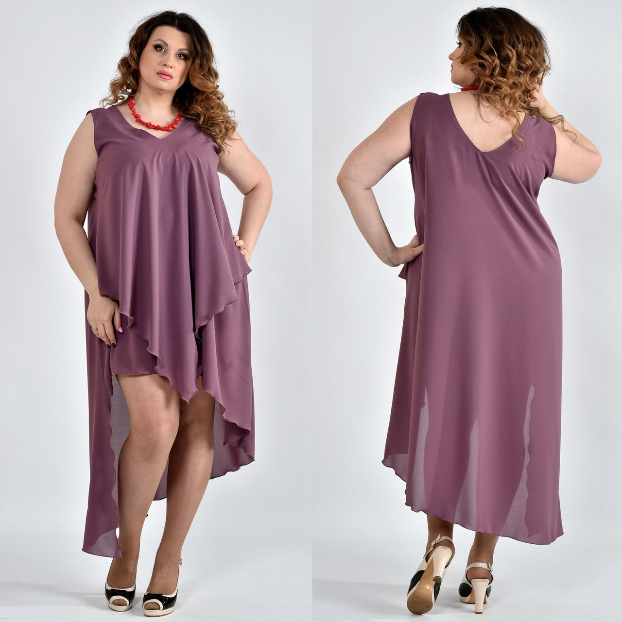 53d3266ce938410 Шифоновое платье больших размеров 0515 сливовое - V Mode, прямой поставщик  женской одежды в Харькове