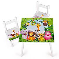 Набор стол со стульями животные в джунглях
