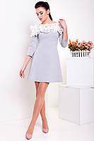 Однотонное трикотажное платье с кружевом, Лилиан 2433