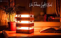 Настольный декоративный светильник-ночник из дерева Via.Light Uriel_red