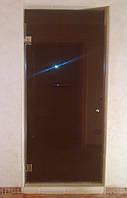 Душевая дверь стеклянная из бронзового стекла