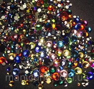 Стразы стекло микс цветов и размеров, 300 шт, аналог Swarovski