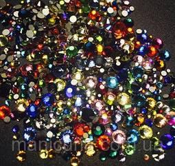 Стразы стекло Mix цветов и размеров, 300 шт, аналог Swarovski