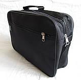 Мужская сумка барсетка через плечо простая и надежная папка портфель А4 в2600 черная 34,5х23,5х10см, фото 3