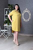 Женское платье-рубашка с пояском р.50-58 V279-01