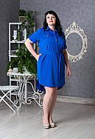 Женское платье-рубашка с пояском р.50-58 V279-02