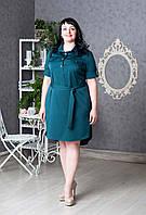 Женское платье-рубашка с пояском р.50-58 V279-03