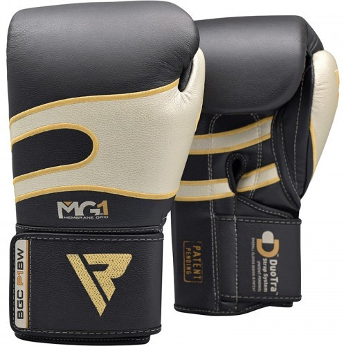 Боксерские перчатки RDX Leather Black White 14 ун.