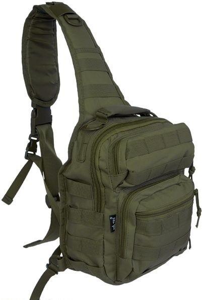 Рюкзак однолямочный через плечо 8,5л MilTec Assault оливковый 14059101