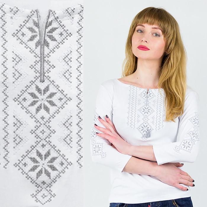 Лонгслив белый Орнамент узкий Серебро