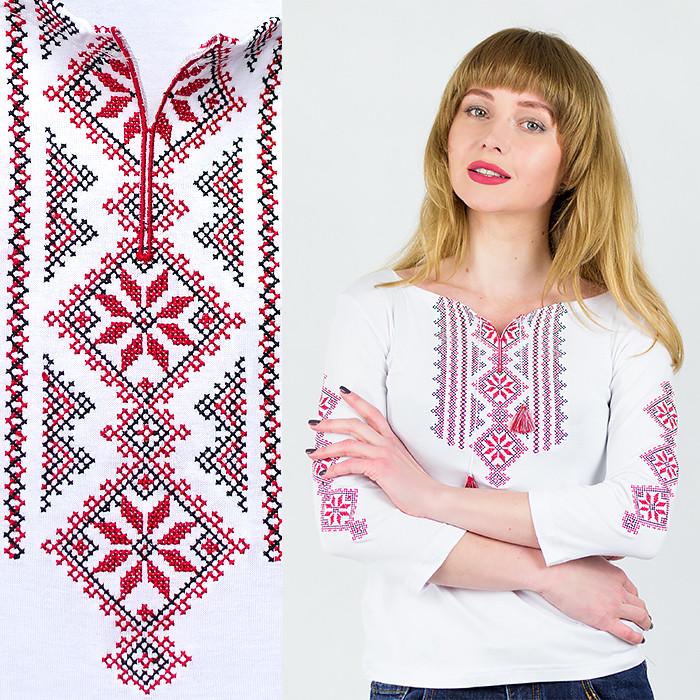 Вышиванка белая Орнамент узкий Красный