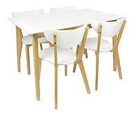 Белый стол для кухни, столовой, гостиной + 4 стула