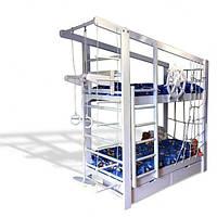 Двухъярусная спортивная кровать «Капитан» с ящиками и навесными элементами Babygrai