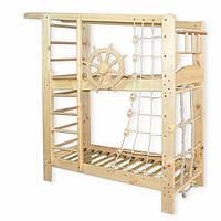 Двухъярусная спортивная кровать «Капитан» из сосны