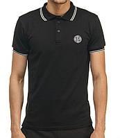 Молодежная летняя футболка Поло «Stone Island» темно-синего цвета