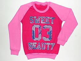 """Детский реглан  для девочек """"Sweet"""" 8,9,10,11,12 лет 100% хлопок"""