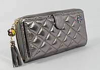 Кошелек женский кожаный на молнии Chanel  9047 серебристый, 18 отделов для карт