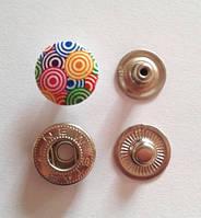 Кнопка АЛЬФА - 15 мм эмаль с рисунком № 5
