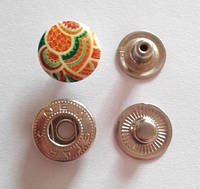 Кнопка АЛЬФА - 15 мм эмаль с рисунком № 6