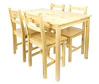 Деревянный стол сосна + 4 стула